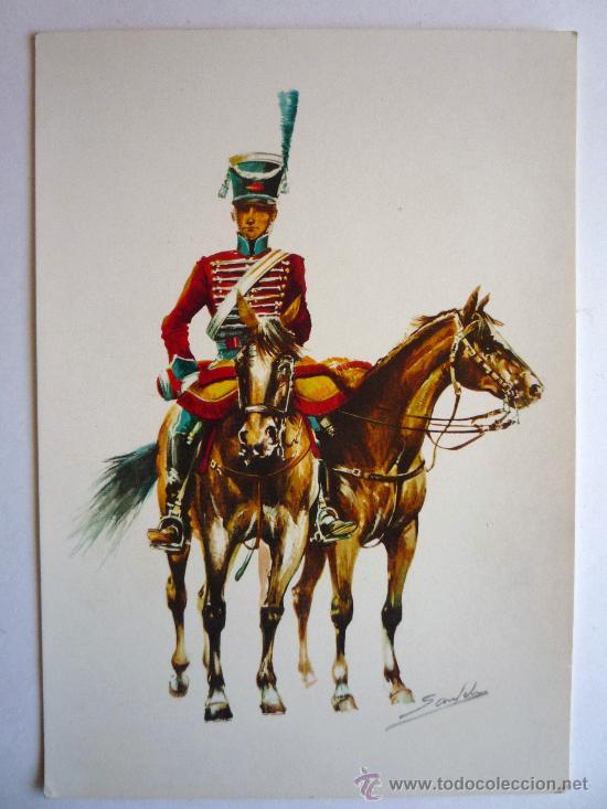 Postales: POSTAL CAZADOR DE LA GUARDIA DE HONOR DEL GENERALISIMO PRINCIPE DE LA PAZ - Foto 3 - 29042720
