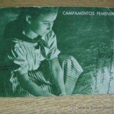 Postales: CAMPAMENTOS FEMENINOS - FRENTE DE JUVENTUDES CAMPAMENTO DE ALCOVER (TARRAGONA ) POSTAL CIRCULADA. Lote 32285184