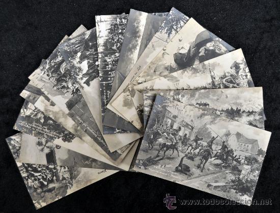 LOTE DE 13 POSTALES ALEMANAS. TEMA . TROPAS RUSAS, ALEMANAS, ETC... (Postales - Postales Temáticas - Militares)