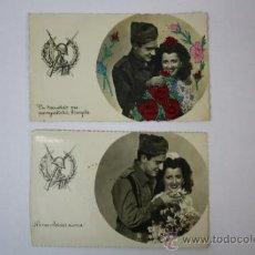 Postales: 2 ANTIGUAS POSTALES ROMANTICAS MILITARES, UNA BORDADA Y OTRA SIN BORDAR . Lote 33102053