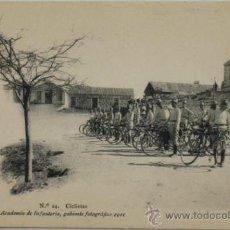 Postales: POSTAL MILITAR ACADEMIA DE INFANTERÍA. CICLISTAS.1911.. Lote 34020959