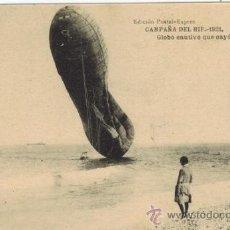 Postales: CAMPAÑA DEL RIF. 1921. GLOBO CAUTIVO QUE CAYÓ AL MAR. Lote 33986361