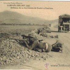 Postales: CAMPAÑA DEL RIF. 1921. DEFENSA DE LA CARRETERA DE NADOR A TAUIMA. Lote 33986370