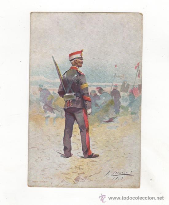 POSTAL ILUSTRADA TEMA MILITAR. DIBUJO DE J. CUSACHS. ED. THOMAS. BARCELONA. (Postales - Postales Temáticas - Militares)