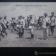 Postales: POSTAL AÑO 1909 MELILLA EL GENERAL MARINA ORDENANDO UN AVANCE. Lote 35592166
