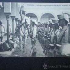 Postales: POSTAL AÑO 1909 MELILLA INFANTERIA PREPARADA PARA SALIR A PROTEGER UN CONVOY. Lote 35592214