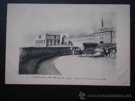 POSTAL AÑO 1909 CAMPAÑA DE MELILLA FUERTE DE CABRIRIZAS ALTAS (Postales - Postales Temáticas - Militares)
