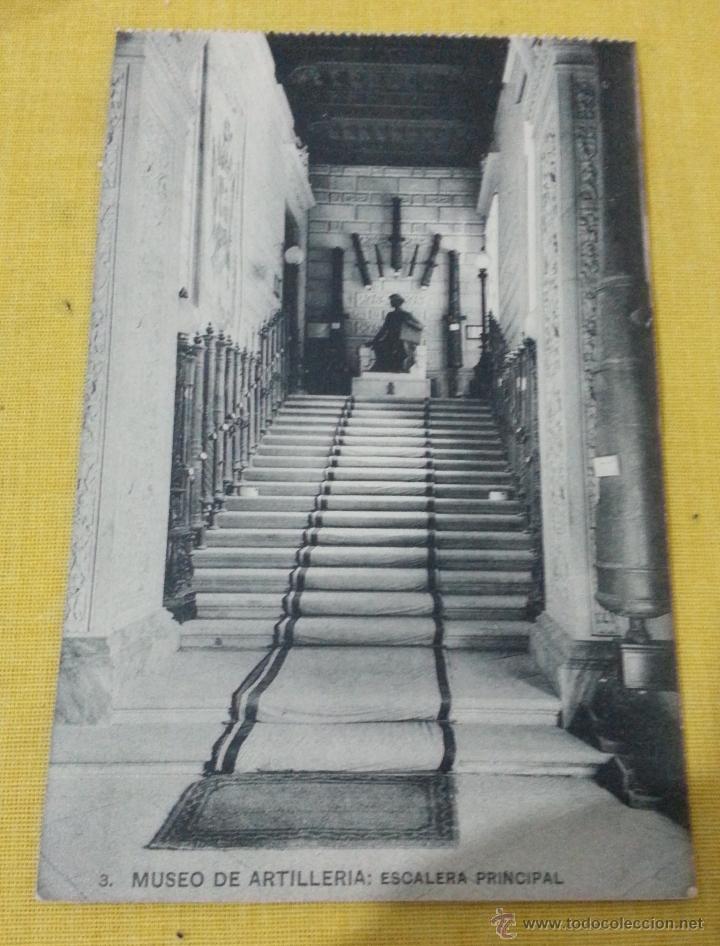 POSTAL ANTIGUA DE MADRID NUM 3 MUSEO DE ARTILLERÍA ESCALERA PRINCIPAL, FOTOTIPIA DE HAUSER Y MENET (Postales - Postales Temáticas - Militares)