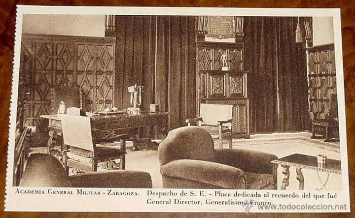ANTIGUA POSTAL DE LA ACADEMIA GENERAL MILITAR DE ZARAGOZA. DESPACHO DE S.E. PLACA DEDICADA AL RECUER (Postales - Postales Temáticas - Militares)