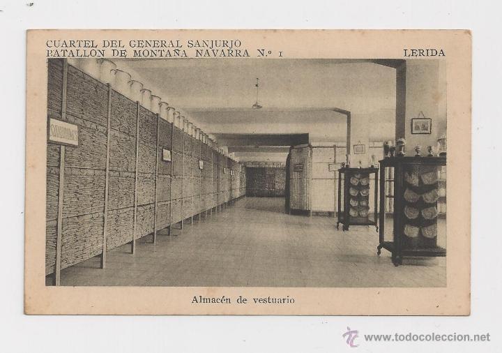 LERIDA CUARTEL DEL GENERAL SANJURJO ALMACEN DE VESTUARIO HACIA 1945 (Postales - Postales Temáticas - Militares)