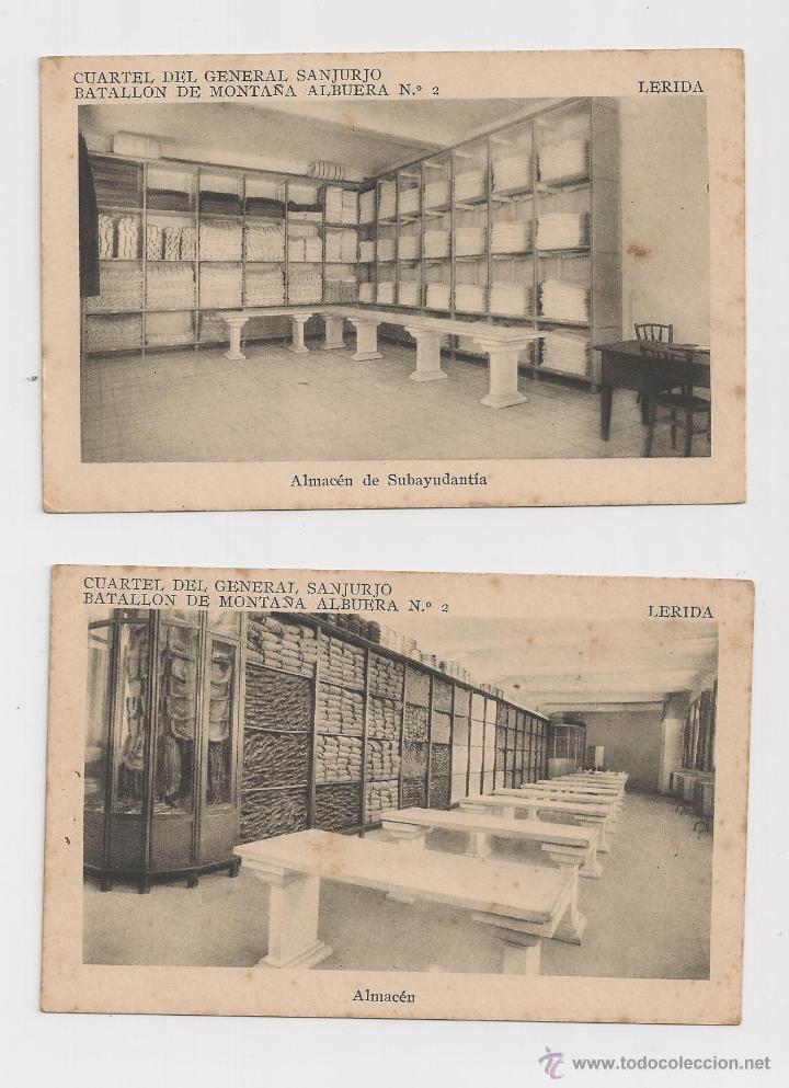 LERIDA CUARTEL DEL GENERAL SANJURJO ALMACEN DE SUBAYUDANTIA //ALMACEN HACIA 1945 (Postales - Postales Temáticas - Militares)