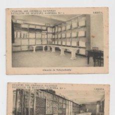 Postales: LERIDA CUARTEL DEL GENERAL SANJURJO ALMACEN DE SUBAYUDANTIA //ALMACEN HACIA 1945. Lote 40346948