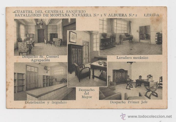 LERIDA CUARTEL DEL GENERAL SANJURJO POSTAL GENERAL HACIA 1945 (Postales - Postales Temáticas - Militares)