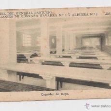 Postales: LERIDA CUARTEL DEL GENERAL SANJURJO COMEDOR DE TROPA HACIA 1945 . Lote 40347001