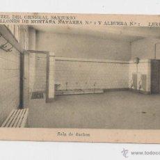 Postales: LERIDA CUARTEL DEL GENERAL SANJURJO SALA DE DUCHAS HACIA 1945 . Lote 40347039