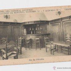 Postales: LERIDA CUARTEL DEL GENERAL SANJURJO BAR DE OFICIALES HACIA 1945 . Lote 40347054