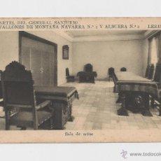 Postales: LERIDA CUARTEL DEL GENERAL SANJURJO SALA DE ACTOS HACIA 1945 . Lote 40347074