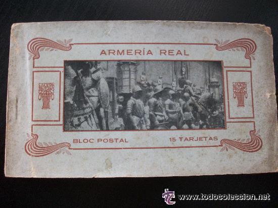 BLOC DE POSTALES DE LA ARMERIA REAL . COMPLETO : 15 POSTALES CON CELOFAN . PRINCIPIOS DE SIGLO ... (Postales - Postales Temáticas - Militares)