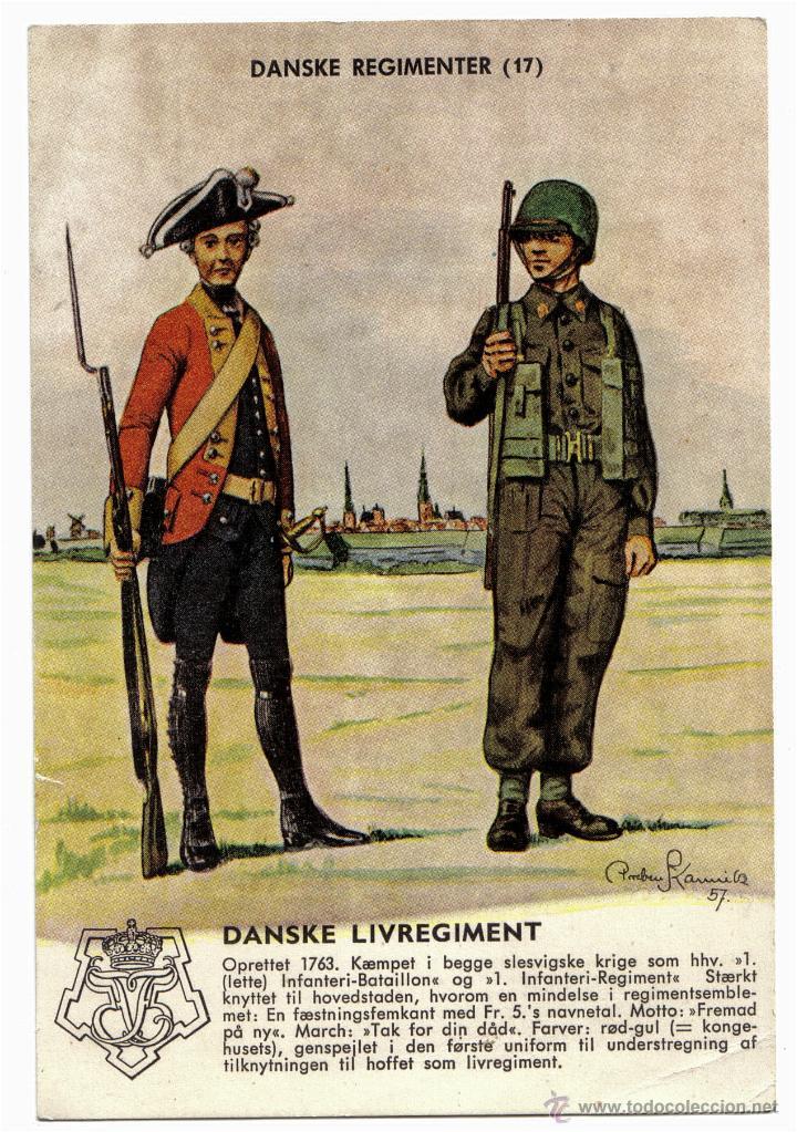 POSTAL DE SOLDADOS DANESES - DANSKE REGIMENTER - UNIFORMES SOLDADOS. (Postales - Postales Temáticas - Militares)