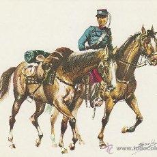 Postales: BATIDOR DEL REGIMIENTO DE CAZADORES DE TALAVERA Nº 15 DE CABALLERIA LIGERA, AÑO 1880. Lote 42849667