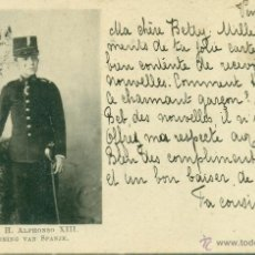 Postales: REY ALFONSO XIII CON UNIFORME DE CADETE DE INFANTERÍA. CIRC. EN 1899.DESCONOCIDA PARA M. CARRASCO.. Lote 44526808