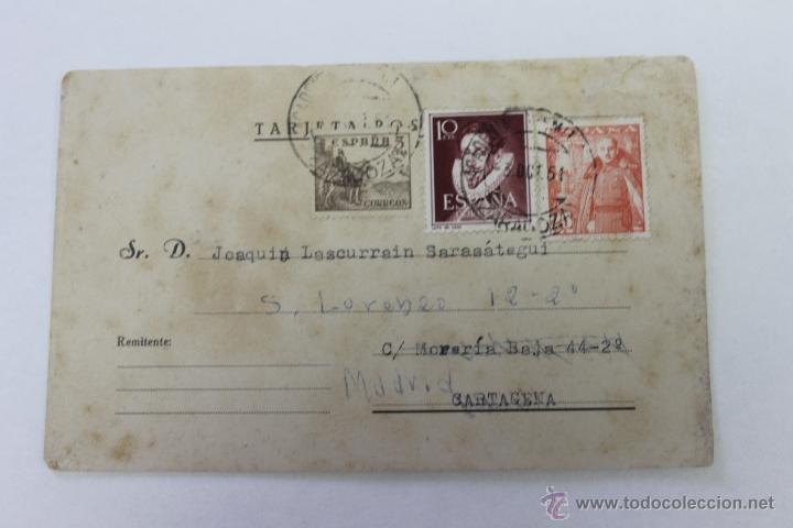 POSTAL ACADEMIA GENERAL MILITAR ZARAGOZA A CARTAGENA MURCIA 1951 (Postales - Postales Temáticas - Militares)