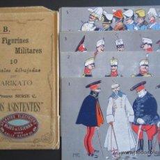 Postales: FIGURINES MILITARES. 9 POSTALES DIBUJADAS POR KIRIKATO. ESTUCHE ORIGINAL. UNIFORMES ESPAÑOLES. Lote 45461068