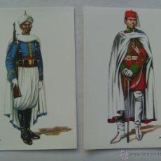 Postales: 2 POSTALES GUARDIA MORA DE FRANCO : OFICIAL GUARDIA INTERIOR Y ESCUADRON (1950). DE DELFIN SALAS. Lote 45619450
