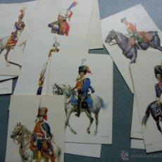Postales: LOTE 15 POSTALES ANTIGUAS DE UNIFORMES CABALLERÍA GUERRAS NAPOLEÓNICAS. Lote 46965453