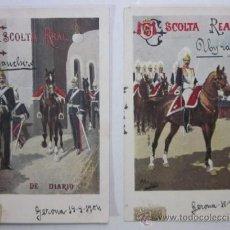 Postales: DOS ANTIGUAS POSTALES ESCOLTA REAL - EDITORIAL CALLEJA PRINCIPIOS DE XX. Lote 47318234