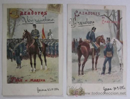 DOS ANTIGUAS POSTALES CAZADORES DE CABALLERIA - EDITORIAL CALLEJA PRINCIPIOS DE XX (Postales - Postales Temáticas - Militares)