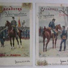 Postales: DOS ANTIGUAS POSTALES CAZADORES DE CABALLERIA - EDITORIAL CALLEJA PRINCIPIOS DE XX. Lote 47334664
