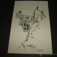 Postales: ACADEMIA GENERAL MILITAR ZARAGOZA POSTAL ILUSTRADA F. VEGUILLAS 1945 A CABALLO. Lote 47758221