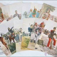 Postales: COLECCIÓN DE 12 POSTALES CON ILUSTRACIONES DE MILITARES, UNIFORMES FRANCESES 1885-1887 - E. DETAILLE. Lote 47834585