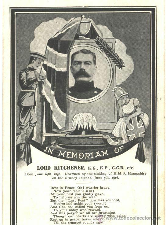 LORD KITCHENER, IN MEMORIAM OF (Postales - Postales Temáticas - Militares)