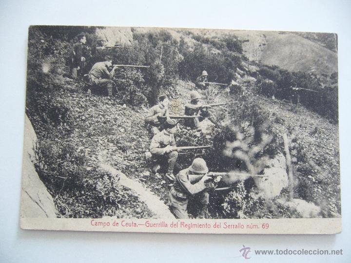 POSTAL CAMPO DE CEUTA. GUERRILLA DEL REGIMIENTO DEL SERRALLO NÚM. 69. ED. ANTONIO BUTRON. CIRCULADA. (Postales - Postales Temáticas - Militares)