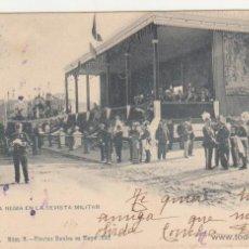 Postales: LA TRIBUNA REGIA EN LA REVISTA MILITAR. FIESTAS REALES MAYO 1902. FRANQUEADO Y FECHADO EN 1902.. Lote 50986245