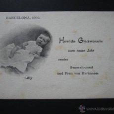 Postales: POSTAL FELICITACIÓN AÑO NUEVO. NACIMIENTO DE LILLY. BARCELONA, 1902. CIRCULADA. . Lote 51642488