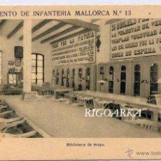 Postales: LORCA (MURCIA).- REGIMIENTO DE INFANTERIA MALLORCA Nº 3- BIBLIOTECA DE TROPA. Lote 52569631