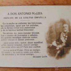 Postales: POSTAL FOTOGRAFICA ANTONIO MAURA. Lote 52647934