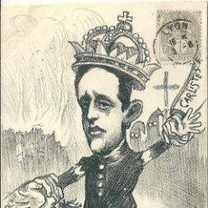 Postales: POSTAL SATIRICA ALFONSO XIII, ANARQUIA, SOCIALISMO, CARLISTAS, CUAL DE LOS DOS VA A GANAR? 1903. Lote 53573449