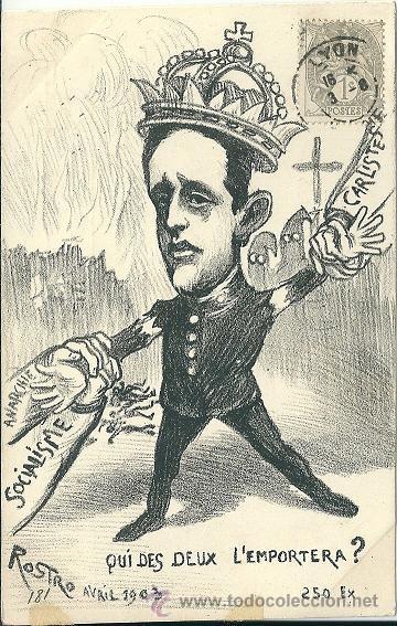 Postales: POSTAL SATIRICA ALFONSO XIII, ANARQUIA, SOCIALISMO, CARLISTAS, CUAL DE LOS DOS VA A GANAR? 1903 - Foto 2 - 53573449