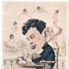 Postales: BONITA POSTAL SATIRICA DE ALFONSO XIII HACIENDO PAJARITAS EN VEZ DE ESTUDIAR, ART NOUVEAU. Lote 54350582