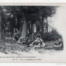 Postales: ACADEMIA DE INFANTERÍA. EN LA ALBERQUILLA. AÑO 1909.. Lote 56495725