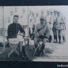 Postales: POSTAL S.M. SENTADO A LA PUERTA DE SU TIENDA, ACADEMIA DE INFANTERIA, GABINETE FOTOGRAFICO 1911. Lote 62299040