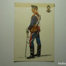 Postales: POSTAL MILITAR ESPAÑA 1890 ARTILLERO BATERIAL CABALLO .-DIBUJO SALAS. Lote 83544788