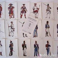 Cartoline: 18 POSTALES REGIMIENTOS ESPAÑOLES - SUS UNIFORMES - SERIE 1, CON FOLLETO INFORMATIVO (ANOS 70). Lote 230500015