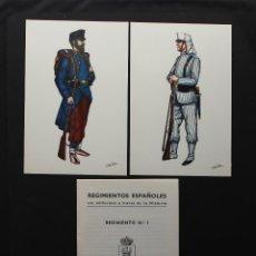 Postales: COLECCION 18 POSTALES REGIMIENTOS ESPAÑOLES, UNIFORMES MILITARES A TRAVES DE LA HISTORIA, NUEVAS. Lote 87348296