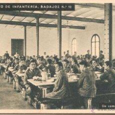Postales: RGTO. DE INFANTERIA BADAJOZ Nº 10, PEDRALBES, COMEDOR DE TROPA - HUECOGRABADO MUMBRÚ - S/C. Lote 91701305