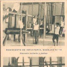 Postales: RGTO. DE INFANTERIA BADAJOZ Nº 10, CUARTEL DEL BRUCH, GIMNASIO Y DUCHAS - HUECOGRABADO MUMBRÚ - S/C. Lote 91701400